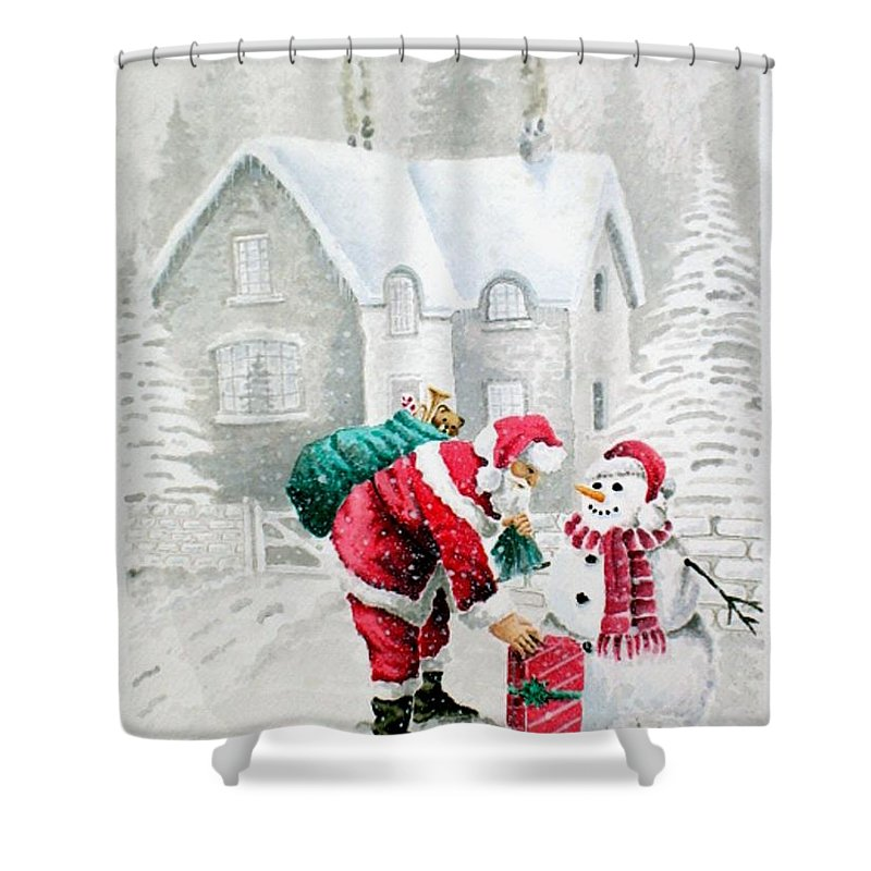 Christmas Shower Curtain featuring the painting White Christmas by Jimmy Smith