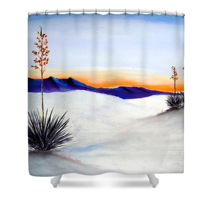 White Sands Shower Curtain featuring the painting White Sands by Melinda Etzold