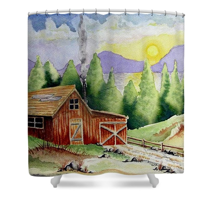 Cabin Shower Curtain featuring the painting Wilderness Cabin by Jimmy Smith