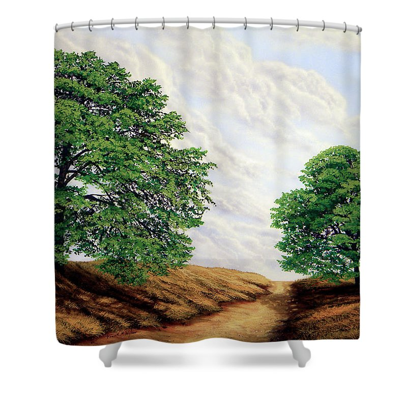 Windblown Clouds Shower Curtain featuring the painting Windblown Clouds by Frank Wilson
