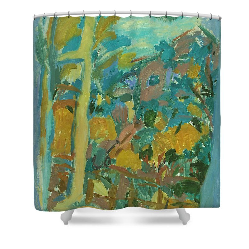 Park Shower Curtain featuring the painting Window by Robert Nizamov