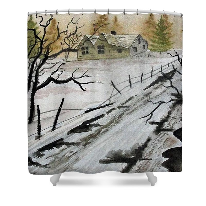 Building Shower Curtain featuring the painting Winter Farmhouse by Jimmy Smith
