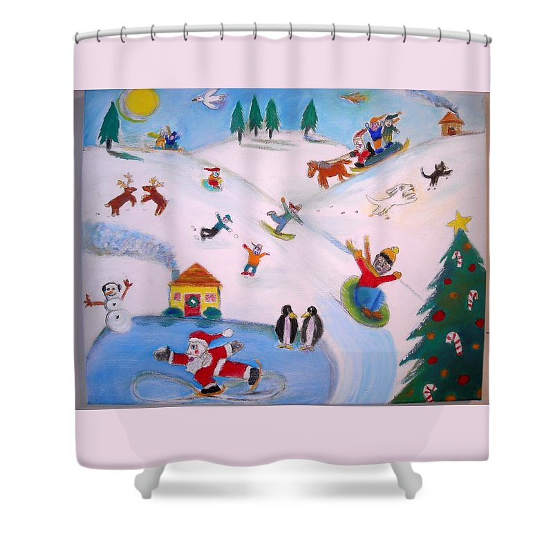 Winter Landscape With Children And Animals Shower Curtain featuring the painting Winter Fun by Ward Smith