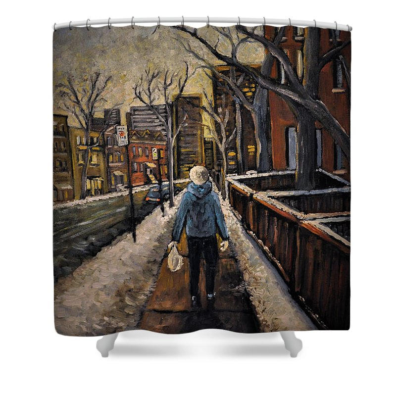 Montreal Shower Curtain featuring the painting Winter In The City by Reb Frost