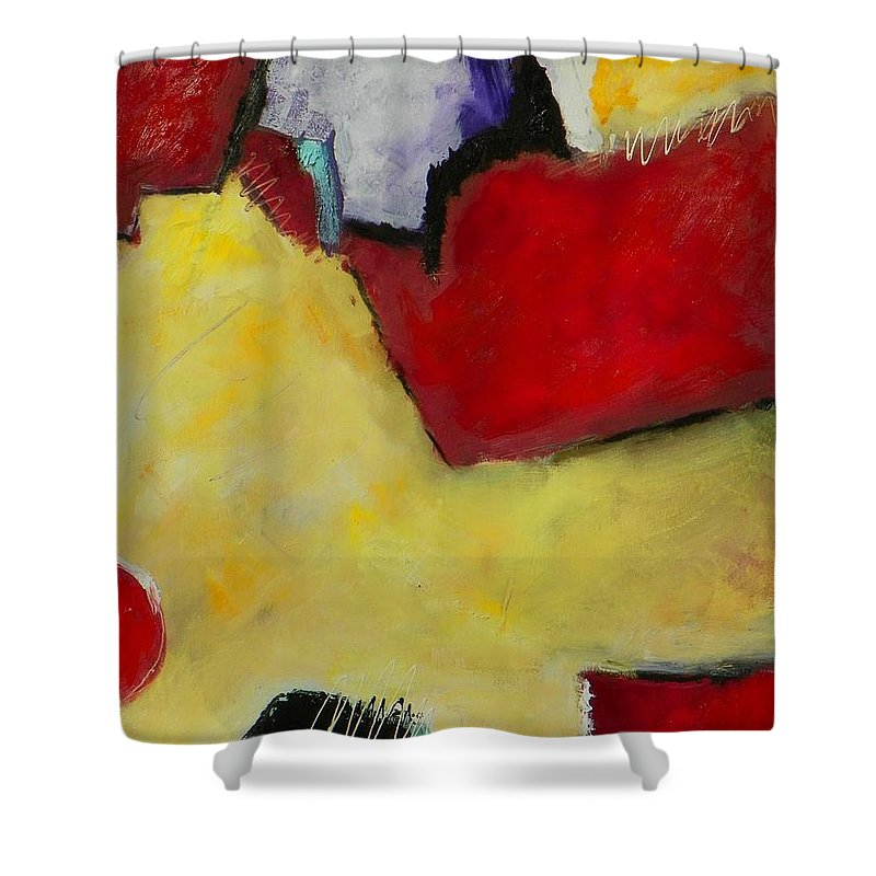Abstract Expressionism Shower Curtain featuring the painting Winter Moon by Donna Frost
