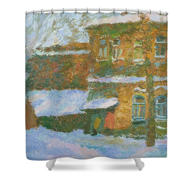Snow Shower Curtain featuring the painting Winter by Robert Nizamov