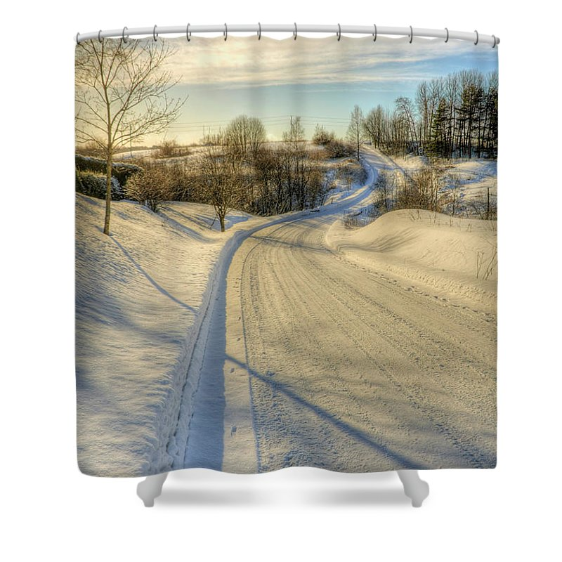 Blue Shower Curtain featuring the photograph Wintry Road by Veikko Suikkanen