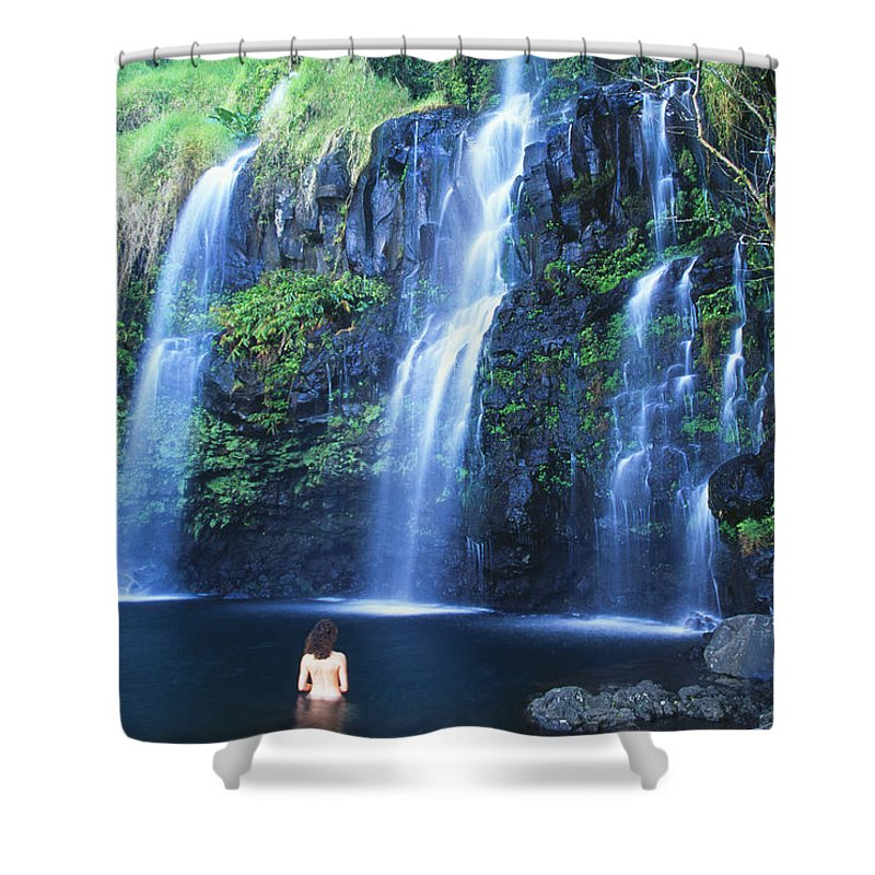 Base Shower Curtain featuring the photograph Woman At Waterfall by Dave Fleetham - Printscapes
