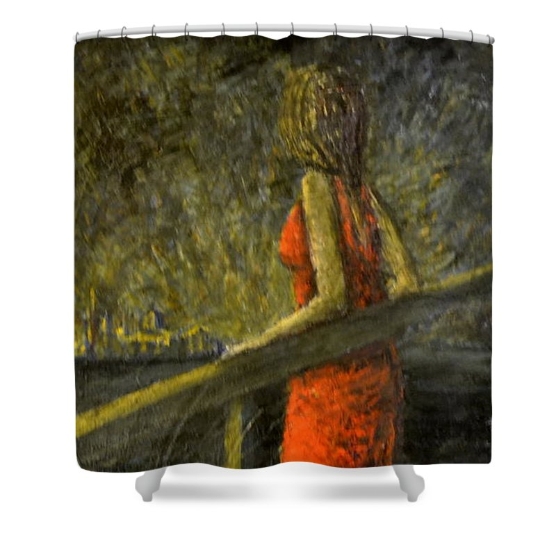 Woman Shower Curtain featuring the painting Woman In Red by Riccardo Maffioli