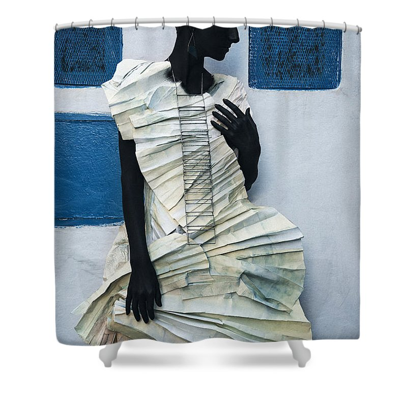 Black Shower Curtain featuring the photograph Woman With Black Boby Paint In Paper Dress by Veronica Azaryan