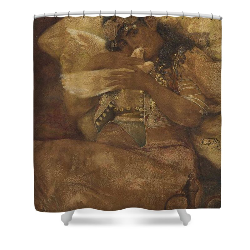 Antonio Rivas(spanish Shower Curtain featuring the painting Woman With Dove by Antonio Rivas