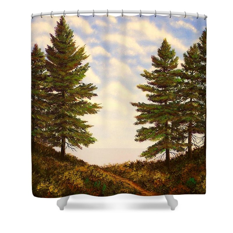 Wooded Path Shower Curtain featuring the painting Wooded Path by Frank Wilson