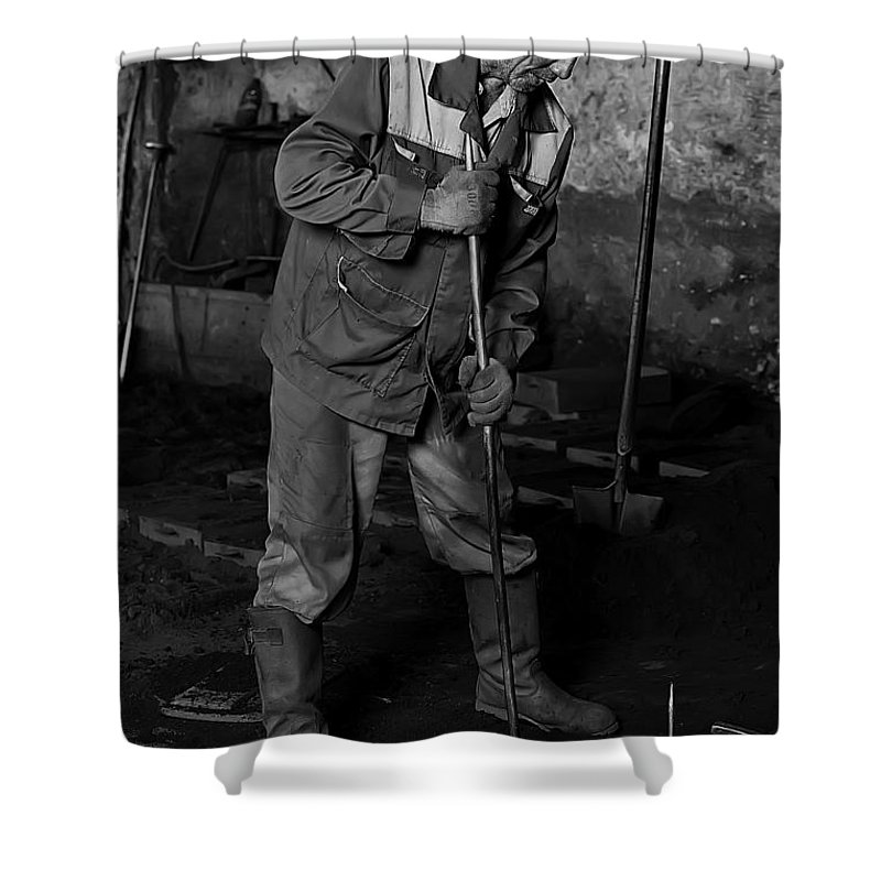 Worker Shower Curtain featuring the photograph Worker In The Foundry by Marat Jolon