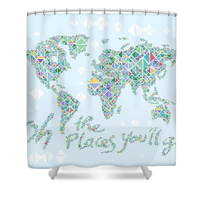 Color Your Own World Map.World Map Geometric Spring Color Shower Curtain For Sale By Hieu Tran