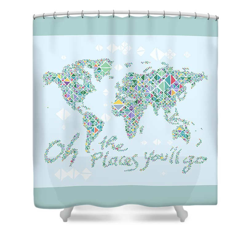 World Map Geometric Spring Color Shower Curtain For Sale By Hieu Tran