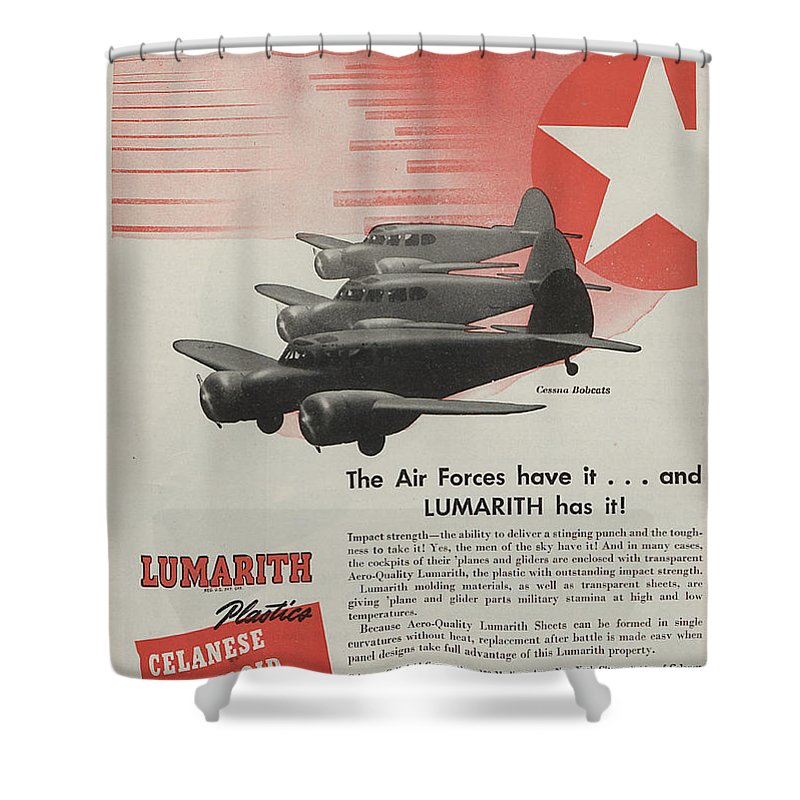 Plane Shower Curtain featuring the painting World War II Advertisement by American School
