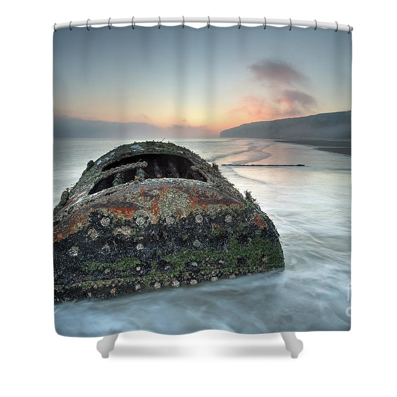 Ship Shower Curtain featuring the photograph Wreck Of Laura - Filey Bay - North Yorkshire by Martin Williams