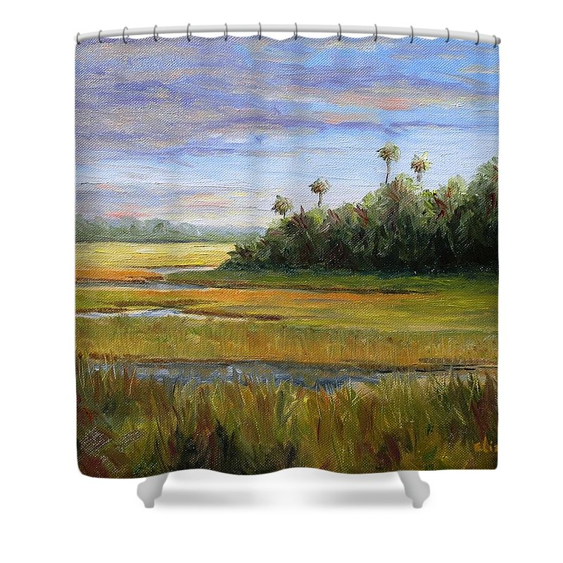 Marsh Shower Curtain featuring the painting Yellow Marsh by Beth Maddox