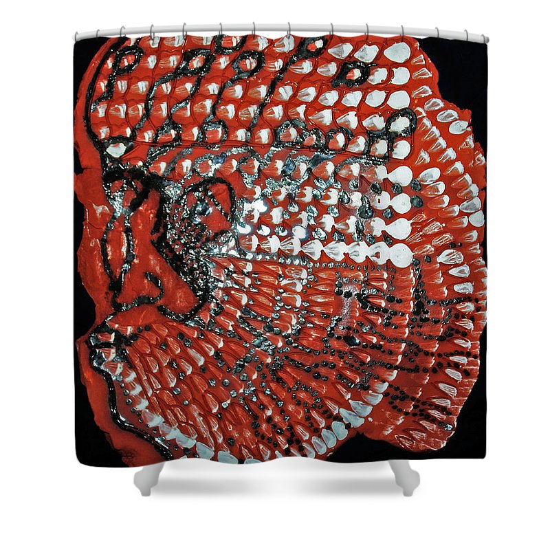 Jesus Christ Shower Curtain featuring the ceramic art Yesu Cristu by Gloria Ssali