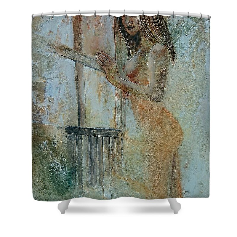 Gir Shower Curtain featuring the painting Young Girl 57905062 by Pol Ledent