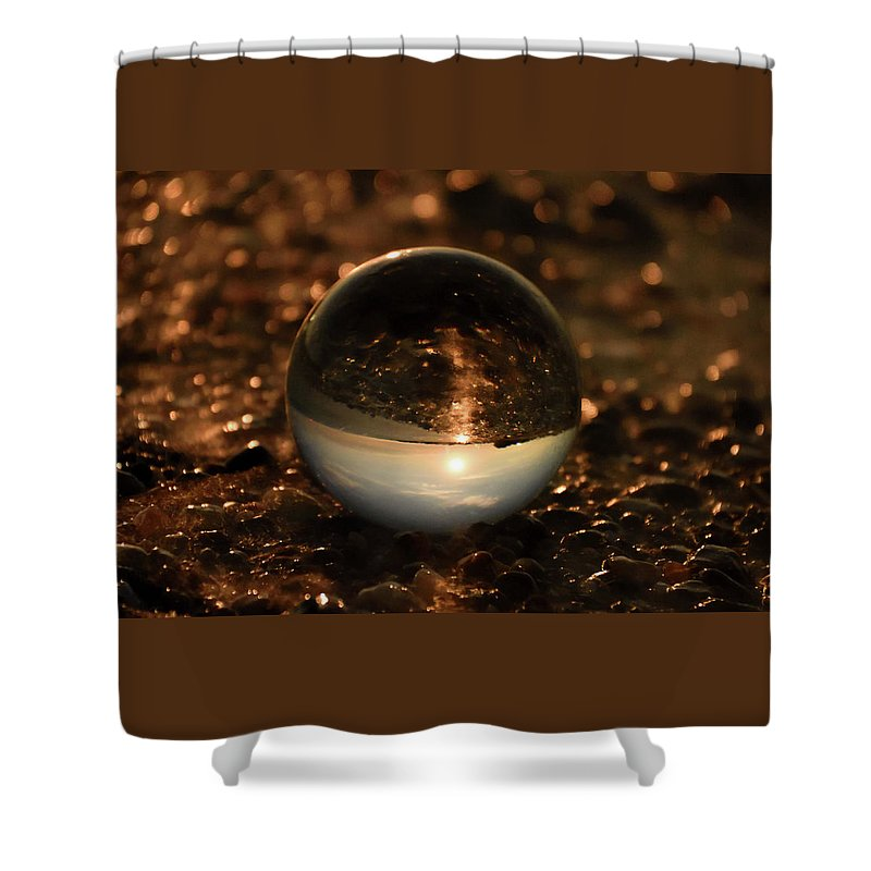 Don't Drop The Crystal Ball Shower Curtain featuring the photograph 10-17-16--8585 The Moon, Don't Drop The Crystal Ball, Crystal Ball Photography by Vicki Hall