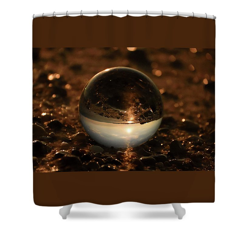 Don't Drop The Crystal Ball Shower Curtain featuring the photograph 10-17-16--8590 The Moon, Don't Drop The Crystal Ball, Crystal Ball Photography by Vicki Hall