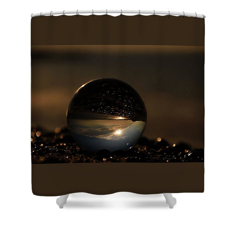 Don't Drop The Crystal Ball Shower Curtain featuring the photograph 10-17-16--8624 The Moon, Don't Drop The Crystal Ball, Crystal Ball Photography by Vicki Hall