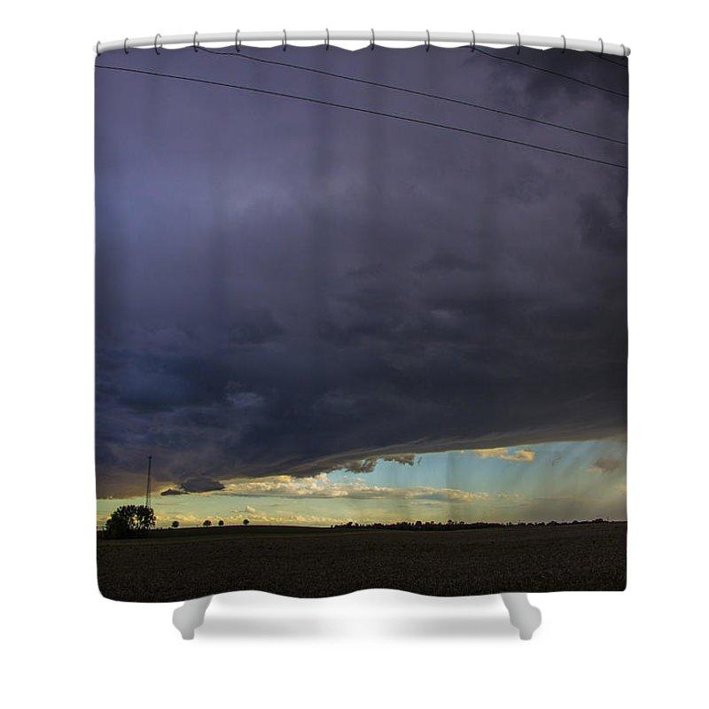 Nebraskasc Shower Curtain featuring the photograph Afternoon Nebraska Thunderstorm by NebraskaSC