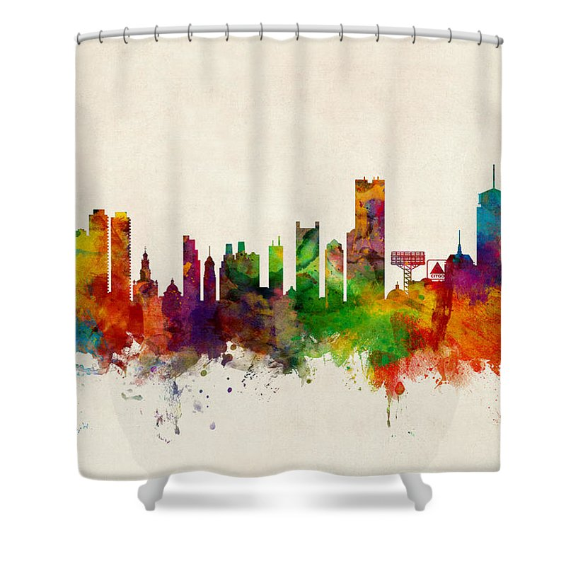 United States Shower Curtain featuring the digital art Boston Massachusetts Skyline by Michael Tompsett