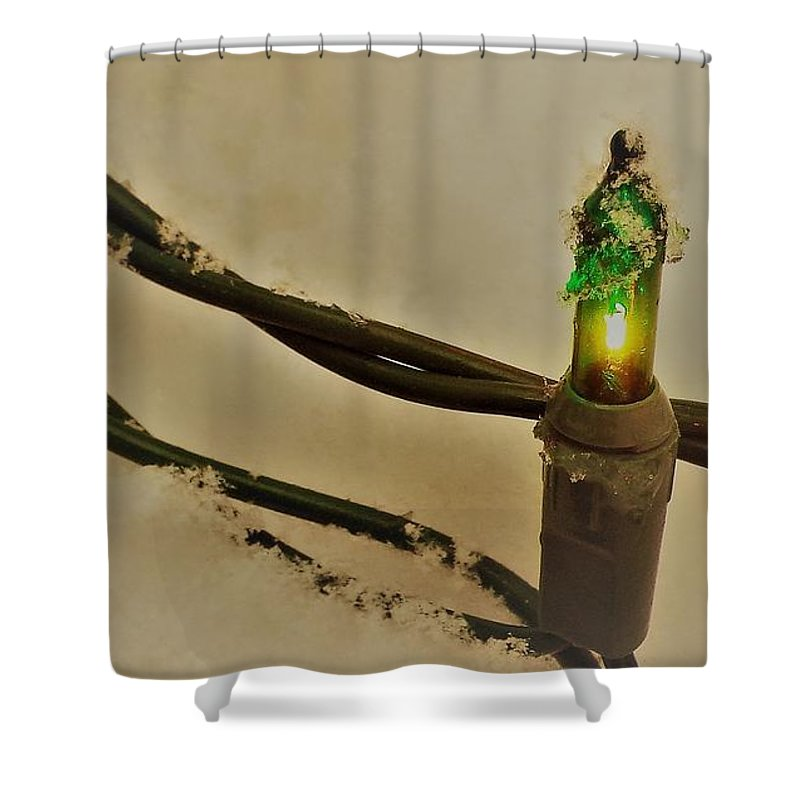 Christmas Shower Curtain featuring the photograph Christmas Fairy Lights On Snow by Isabelle Haynes