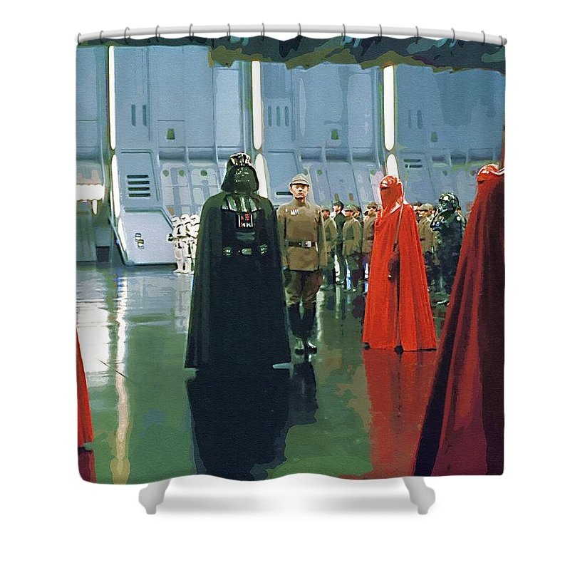 Star The Clone Wars Wars Shower Curtain featuring the digital art Movie Star Wars Poster by Larry Jones