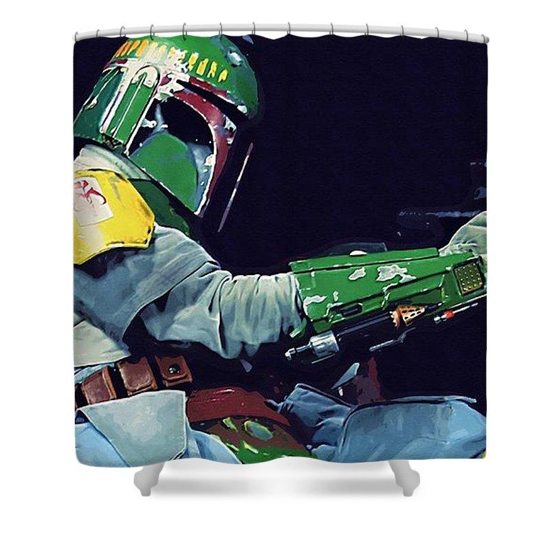 Star Wars Boba Fett Shower Curtain featuring the digital art Star Wars At Art by Larry Jones