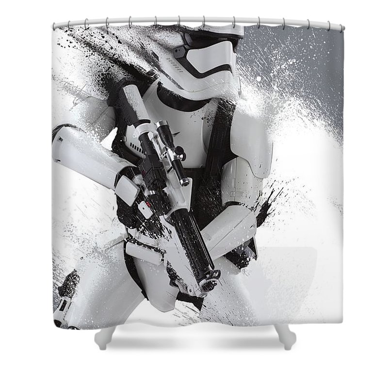Star Wars Shower Curtain featuring the digital art Star Wars Episode VII - The Force Awakens 2015 by Geek N Rock