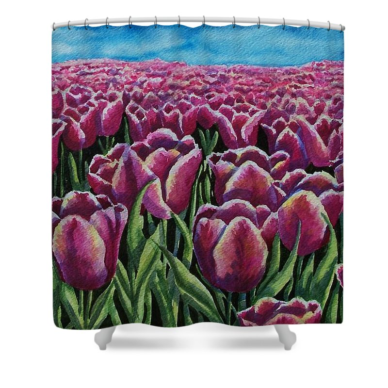 Tulips Shower Curtain featuring the painting 1000 Tulpis by Conni Reinecke