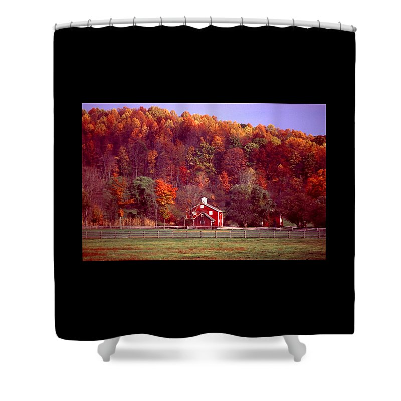 Autumn Shower Curtain featuring the photograph 102701-16 by Mike Davis
