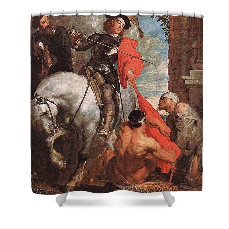 Cadaver Shower Curtain featuring the digital art 10298 Anthony Van Dyck by Eloisa Mannion