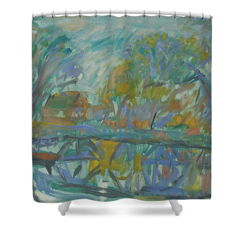 River Shower Curtain featuring the painting Landscape by Robert Nizamov