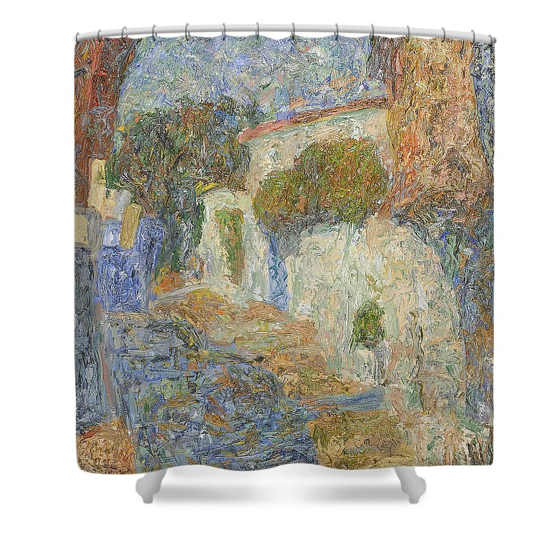 Landscape Shower Curtain featuring the painting Alupka by Robert Nizamov