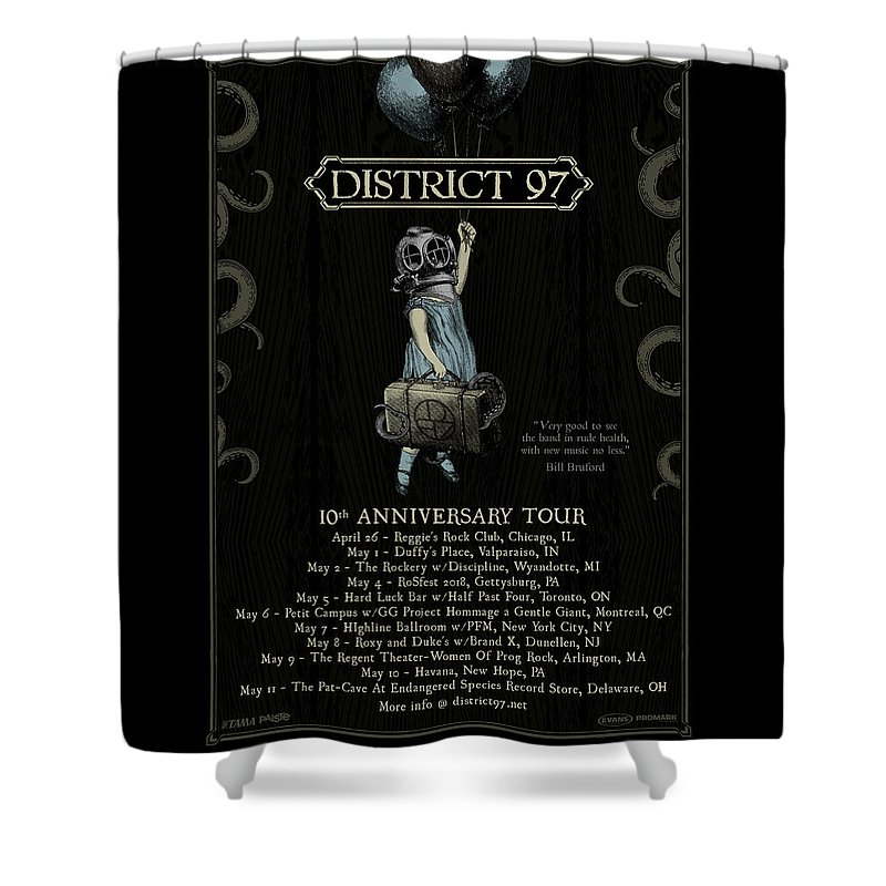 Shower Curtain featuring the digital art 10th Anniversary Tour by District 97