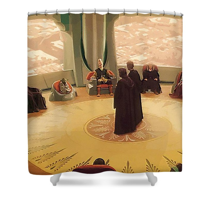 Star Wars Knights Old Republic Shower Curtain featuring the digital art A Star Wars Poster by Larry Jones