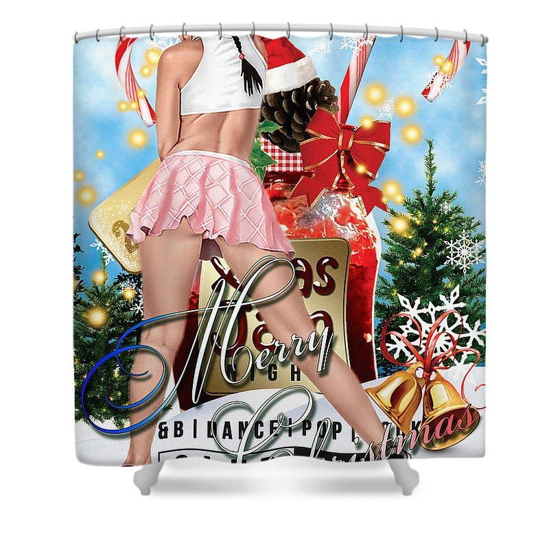 Decoration Shower Curtain featuring the digital art Christmas Greetings by Don Kuing