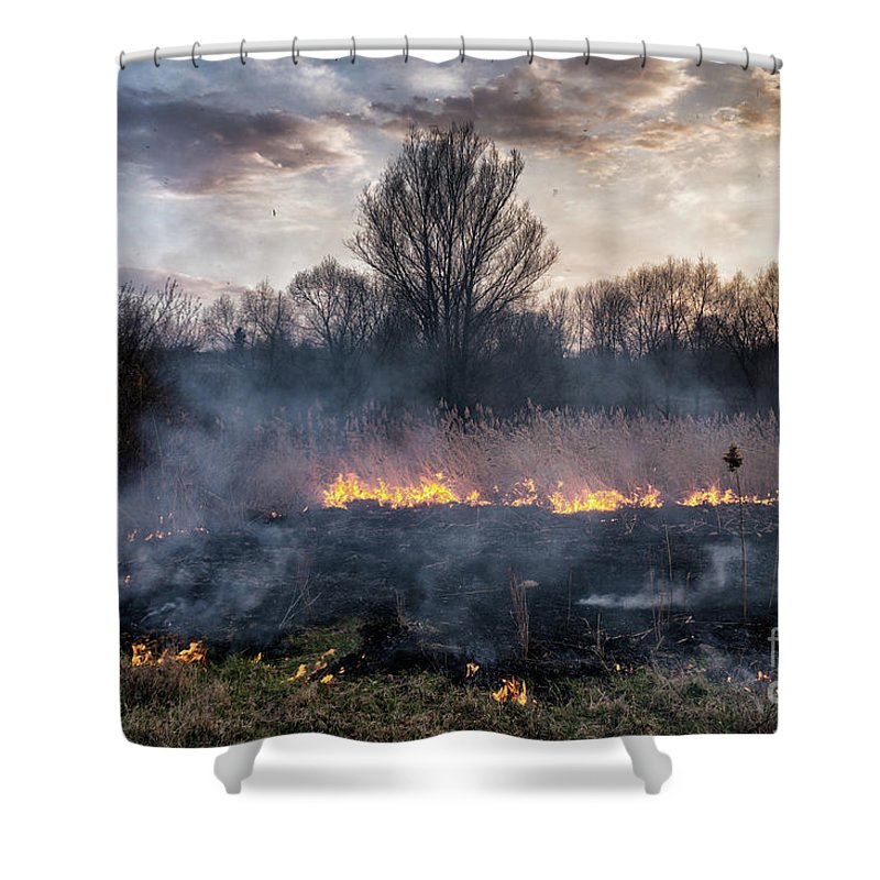 Nature Shower Curtain featuring the photograph Fires Sunset Landscape by Oleksandr Masnyi