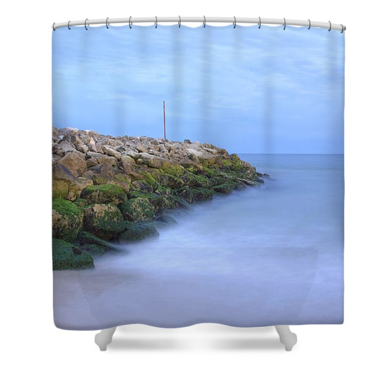 Highcliffe Shower Curtain featuring the photograph Highcliffe Beach In Dorset by Ian Middleton
