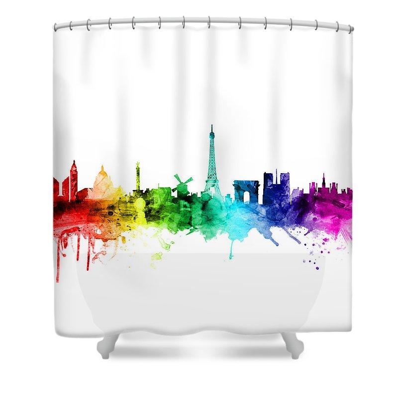 Paris Shower Curtain featuring the digital art Paris France Skyline by Michael Tompsett