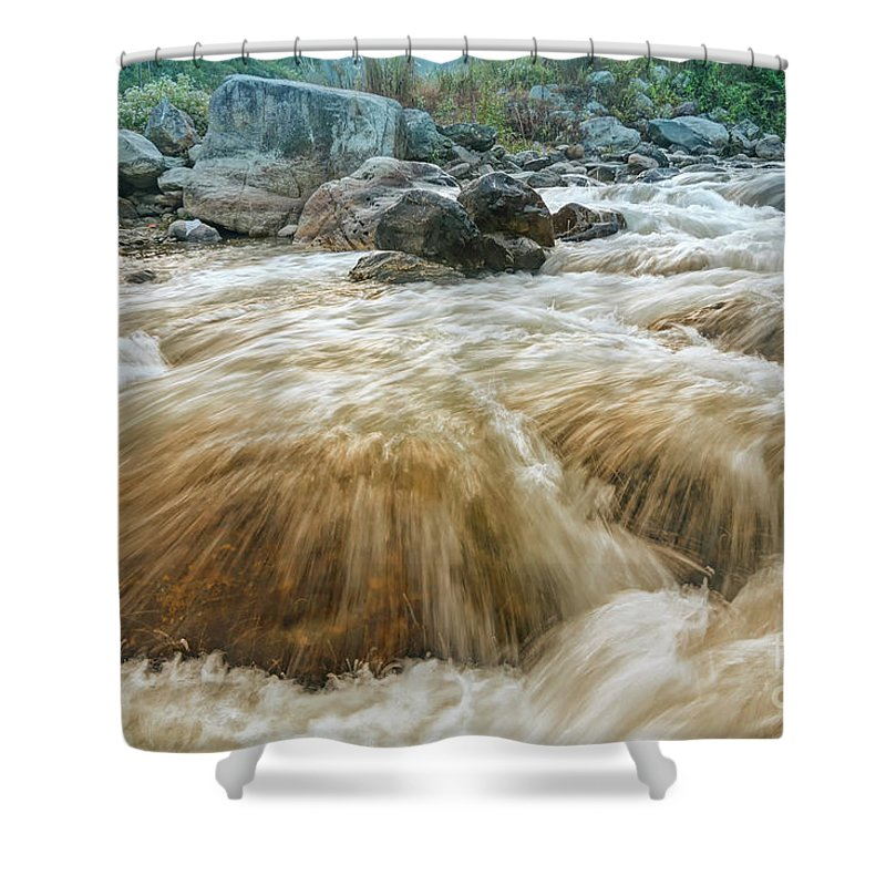 Reshi Shower Curtain featuring the photograph River Water Flowing Through Rocks At Dawn by Rudra Narayan Mitra