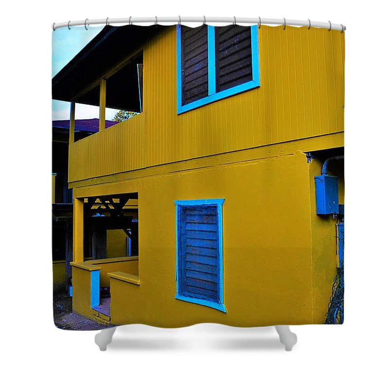 City Shower Curtain featuring the photograph Roatan/house by Gianni Bussu