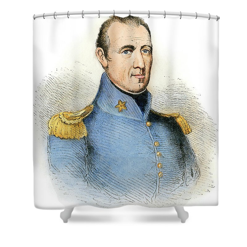 1837 Shower Curtain featuring the drawing Sam Houston, 1793-1863 by Granger