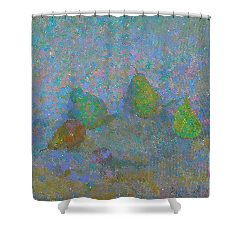 Pears Shower Curtain featuring the painting Pears by Robert Nizamov