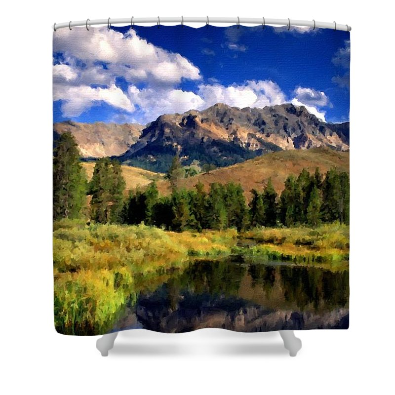 Framed Shower Curtain featuring the digital art T C Landscape by Usa Map