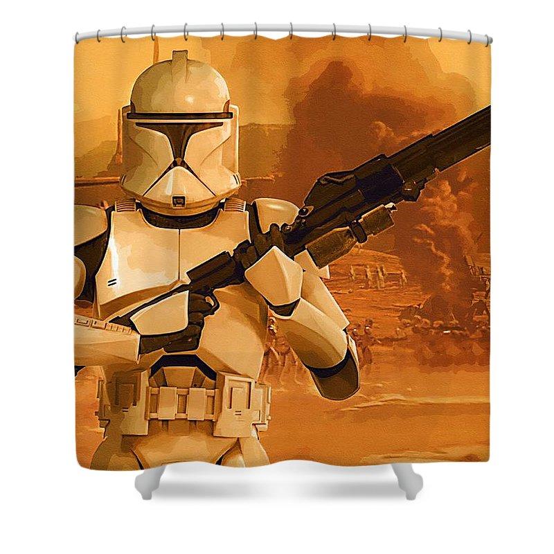 Star Wars Darth Vader Shower Curtain featuring the digital art Vintage Star Wars Poster by Larry Jones